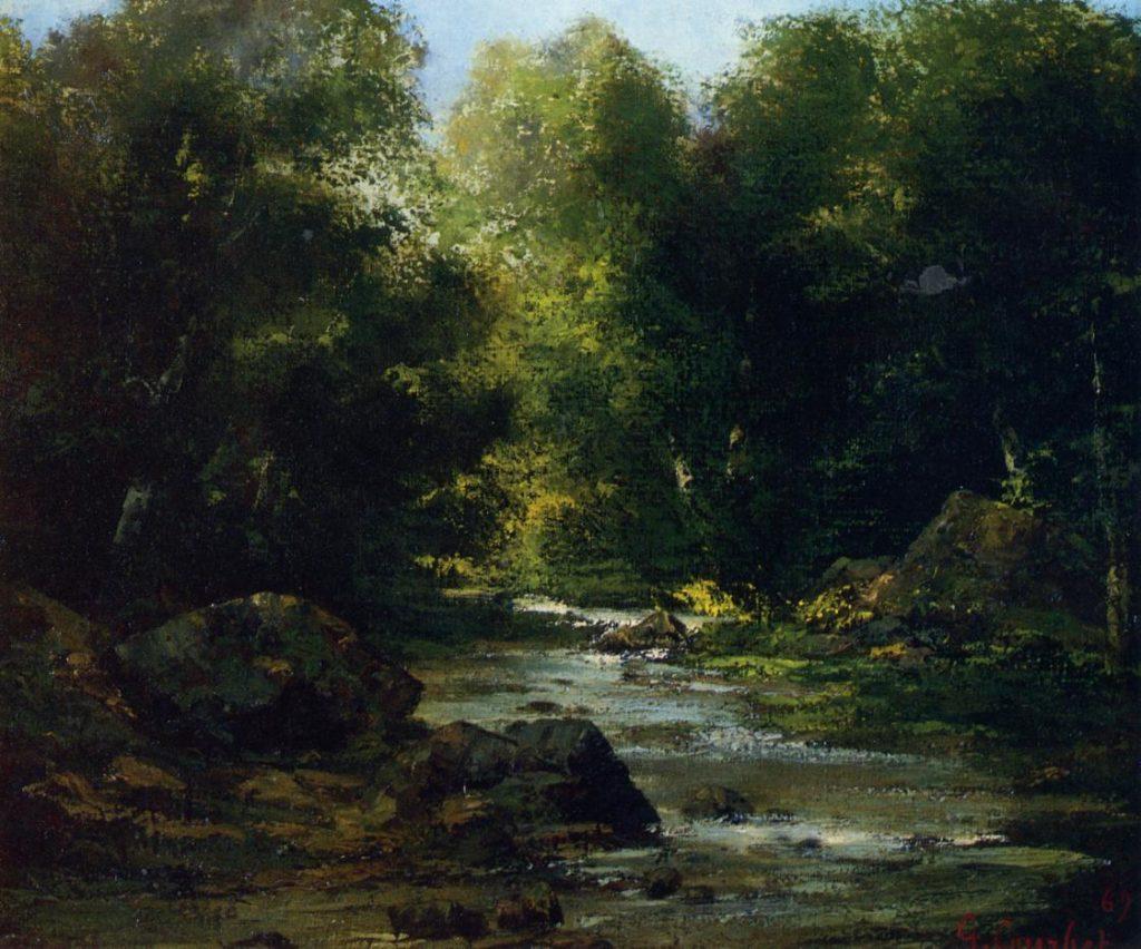 Paysage fluvial, huile sur toile de Gustave Courbet