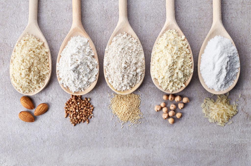 Farines sans gluten : amande, amarante, riz, sarrasin, pois chiche