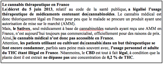 Le cannabis thérapeutique en France