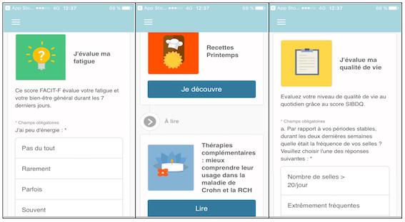 Sur MICI Connect, il est possible d'évaluer sa fatigue et sa qualité de vie, d'accéder à des recettes et à de multiples articles